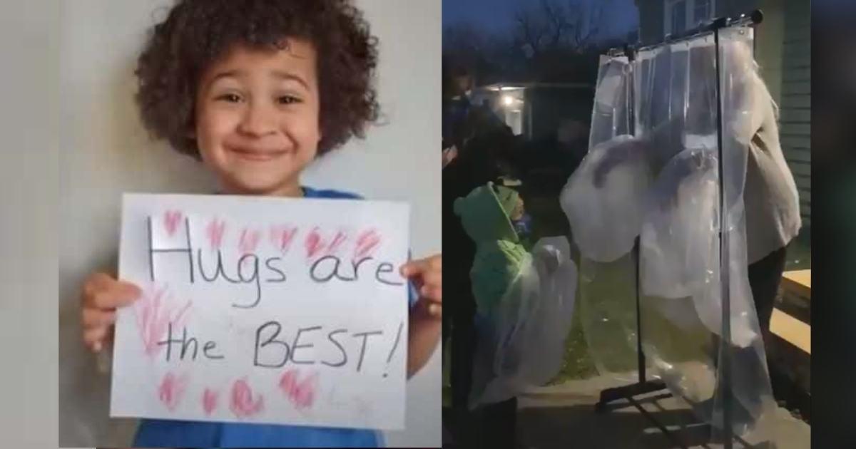 Garoto de 5 anos cria 'máquina do abraço' para professora que está com câncer