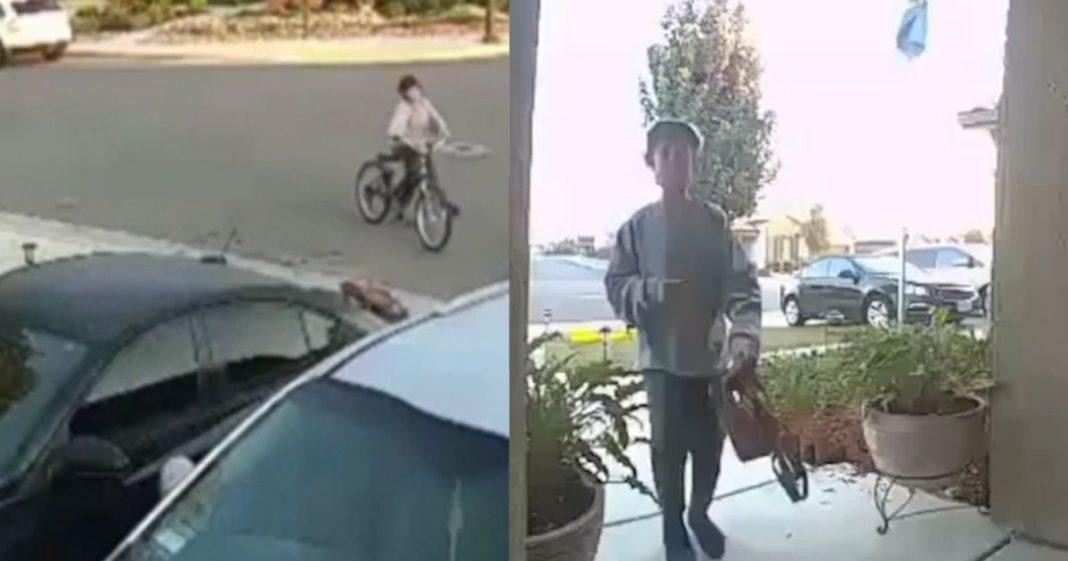 Menino encontra bolsa na rua e leva até a porta de seu vizinho