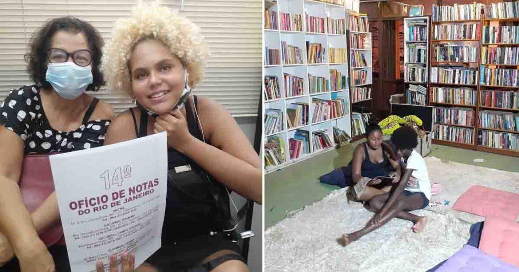 meninas lendo livros biblioteca comunitaria