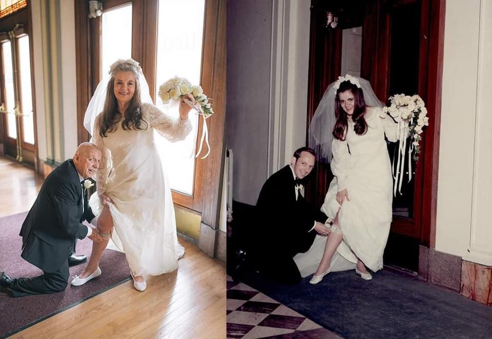 casal recria foto álbum casamento