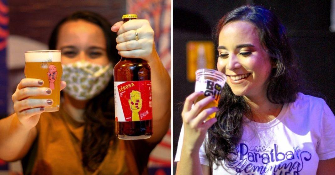 Mulher segurando garrafa e copo de cerveja e mulher sorrindo tomando copo de cerveja