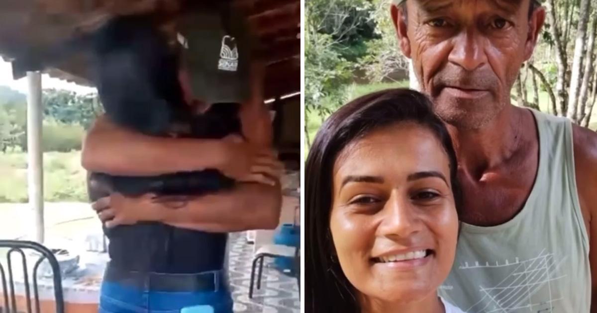 filha abraça pai encontro após 35 anos espera