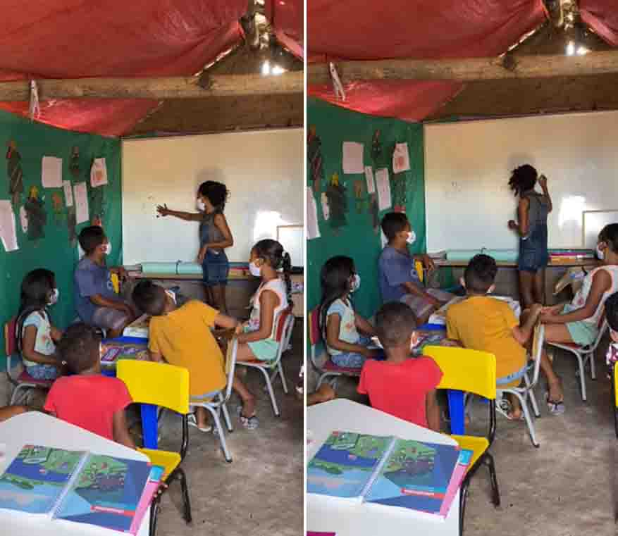 menina ensinando crianças escolinha barraco taipa