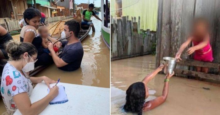 médico atende bebe dentro água enchente acre