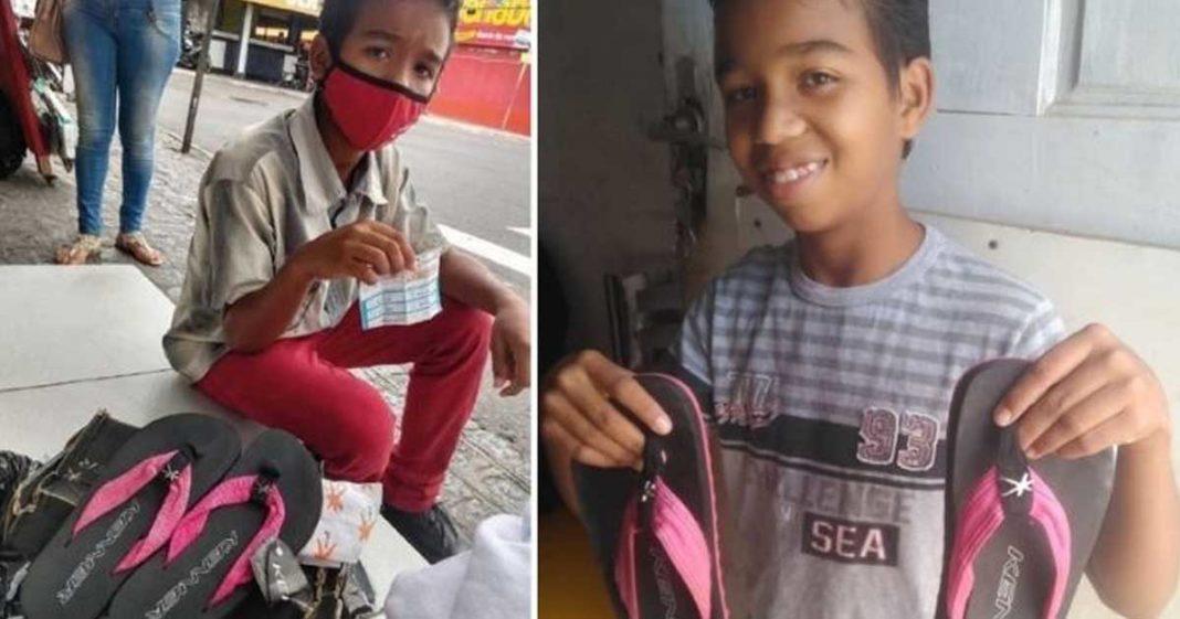 menino vende par de chinelos ajudar sustento família