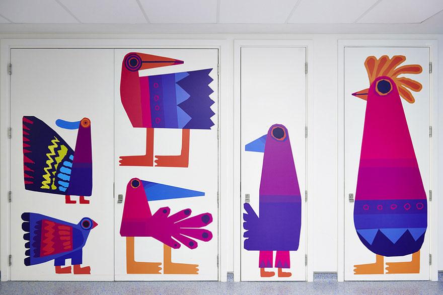 paredes hospital infantil preenchidas desenhos alegres
