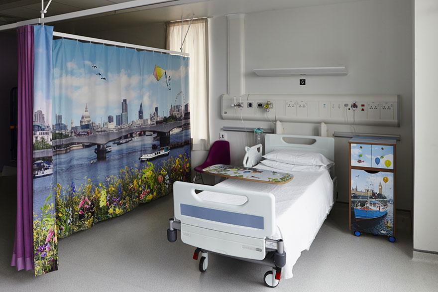 cortina quarto hospital infantil preenchidas desenhos alegres