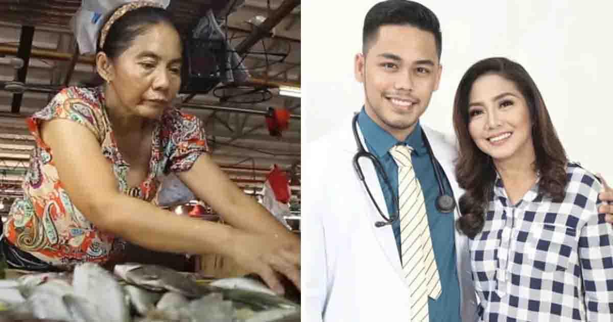 mãe ao lado filho médico