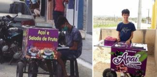 Menino flagrado estudando enquanto vende açaí