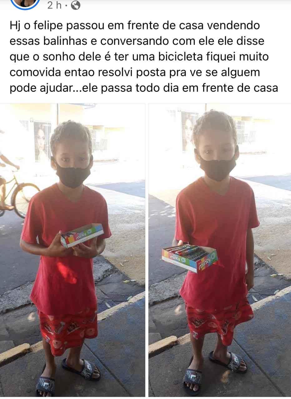 menino vende bala na rua