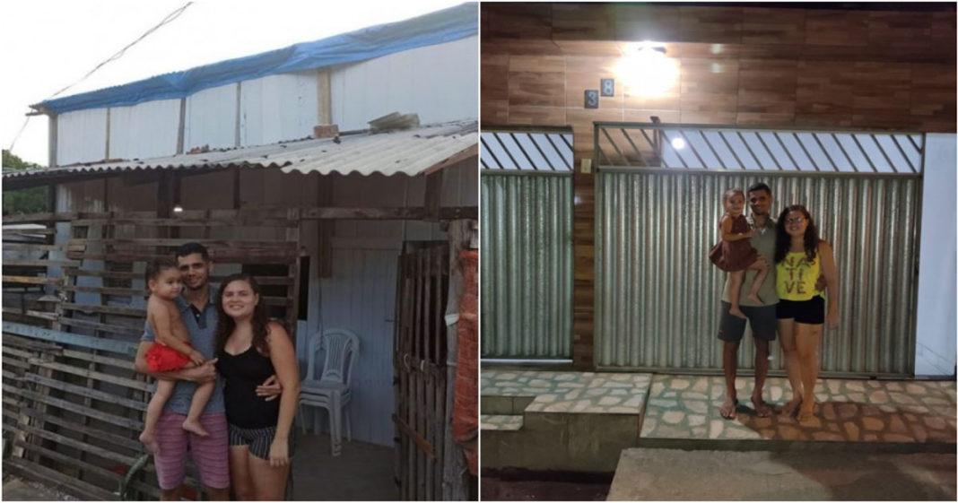 Robson e família no antes e depois da casa