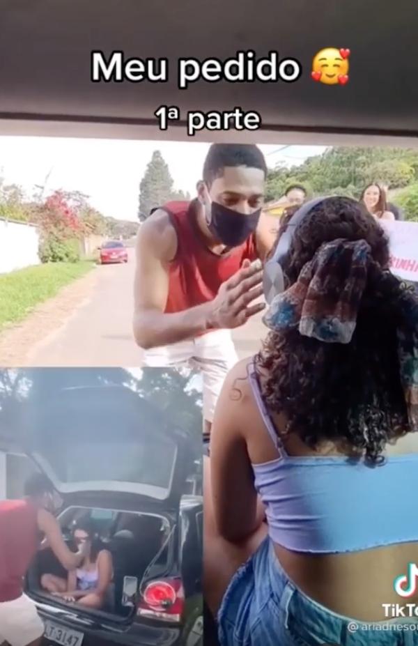 Rapaz faz pedido de casamento criativo e surpreendente em MG