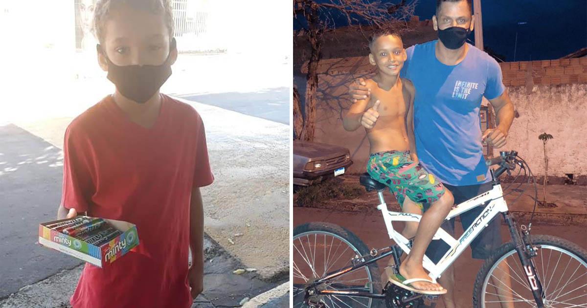 policial doa bicicleta a menino que perdeu pai assassinado