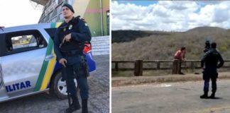 Policial com arma na viatura