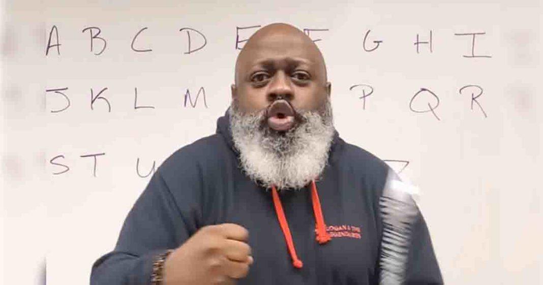 professor ensina alfabeto sim heavy metal