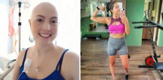 Roberta durante quimioterapia e pós-tratamento
