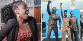 mulher negra punho levantado ao lado estátua nelson mandela
