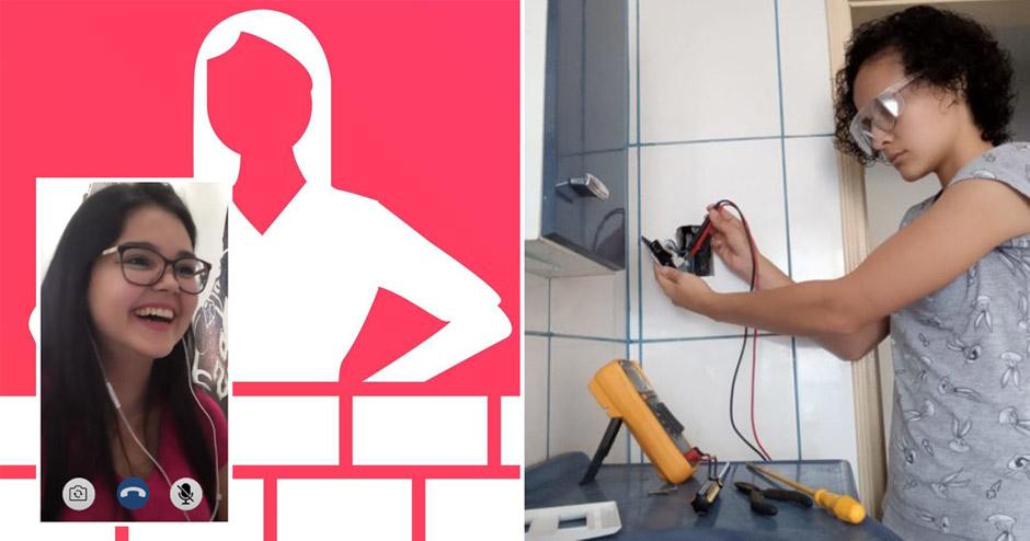 mulher prestando serviços de manutenção tomada parede
