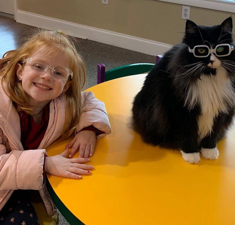 menina posa ao lado de gatinha de óculos em cima de mesa amarela