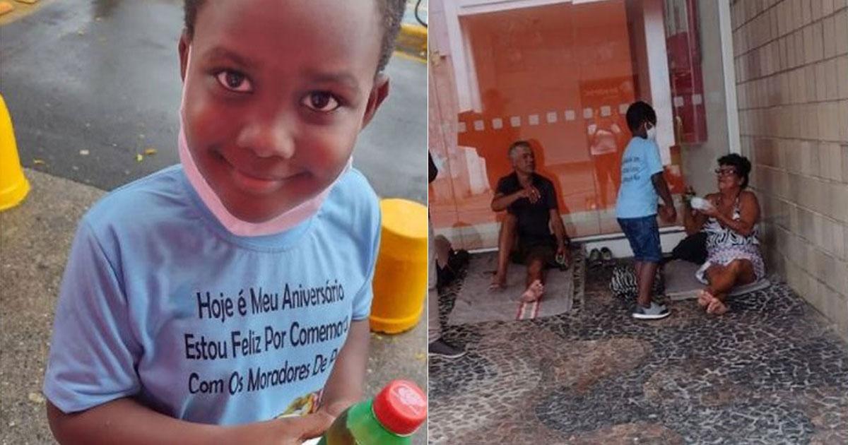 Menino de 6 anos entrega alimentos a moradores de rua