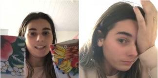 Menina emocionada com panos de prato que comprou de idoso