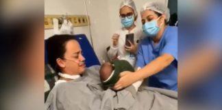 Enfermeiros promovem encontro emocionante entre mãe e filho