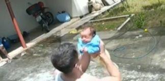 Sargento durante socorro a bebê engasgado