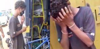 Garoto chora ao ganhar bicicleta do chefe