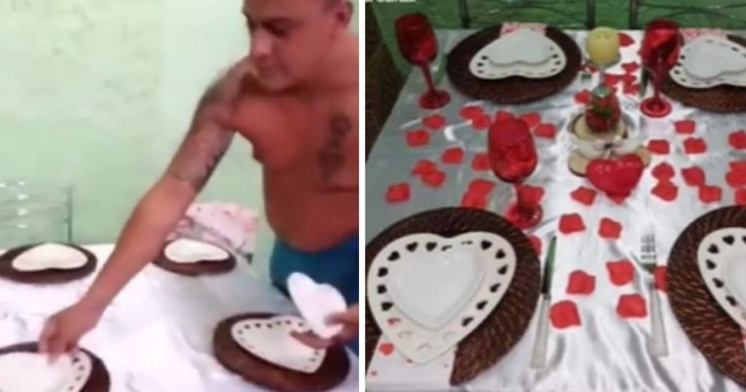 homem decorando mesa