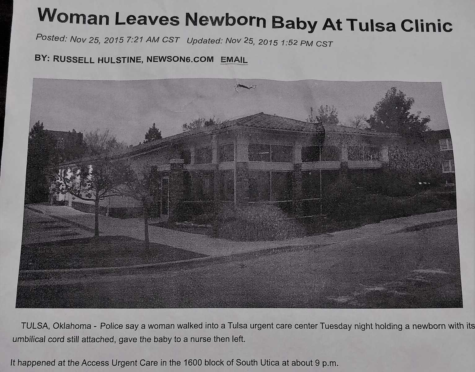 notícia jornal bebê deixado hospital cordão umbilical intacto