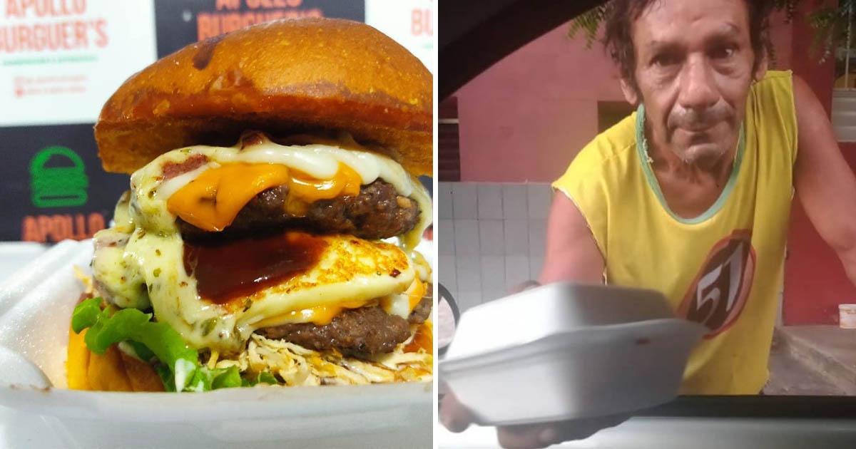 montagem lanche de hambúrguer + morador de rua recebendo lanche