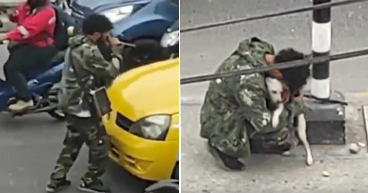 cachorro abraça cantor de rua ignorado semáforo colômbia