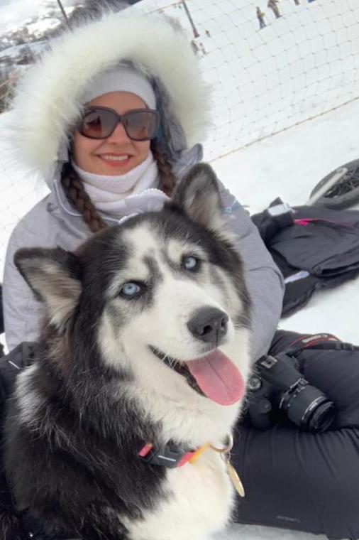 cadela husky siberiano com dona neve