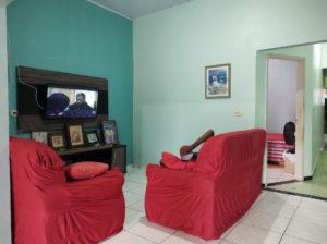 Casa com paredes verdes e sofás vermelhos, onde se deita um idoso