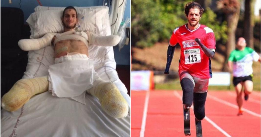 Davide Morana no hospital e depois correndo