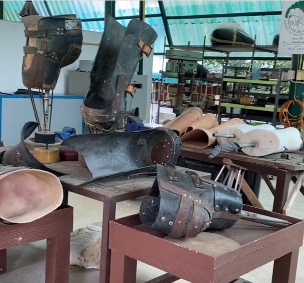 diversas próteses elefante perdeu perna mina terrestre