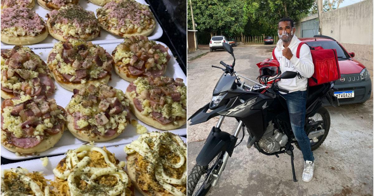 Boxeador em moto entregando minipizzas