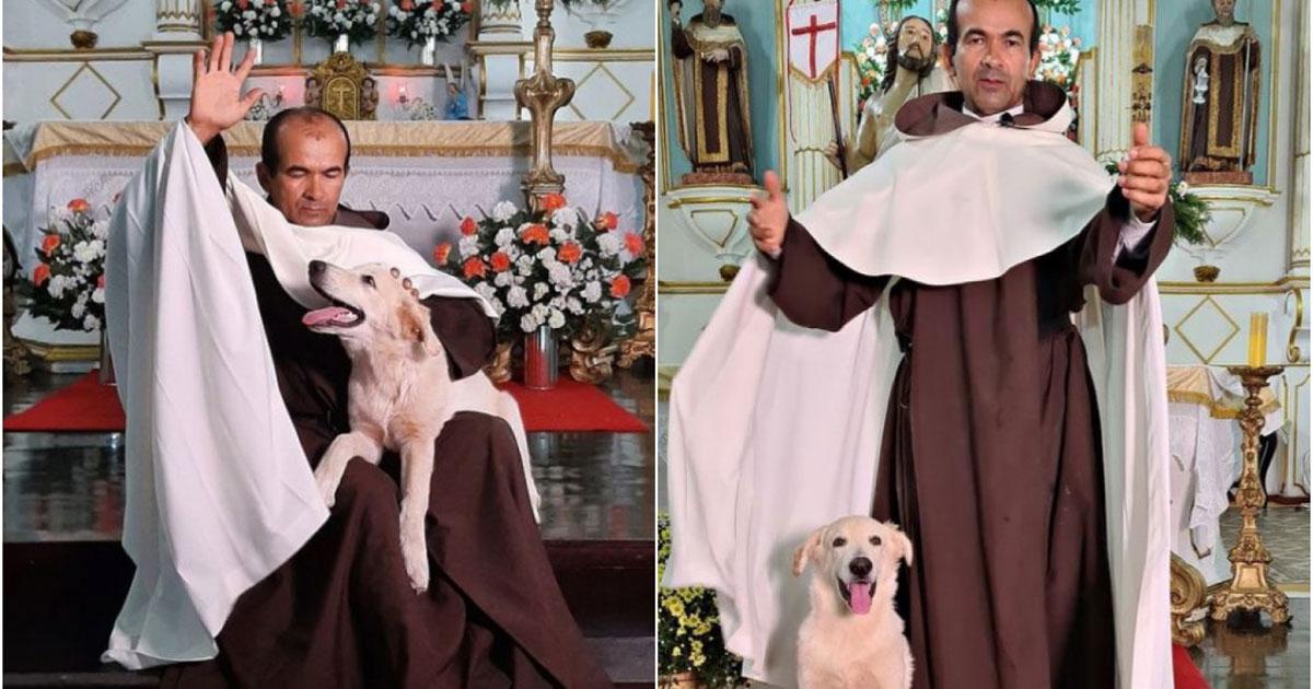 Frei em foto com cachorro