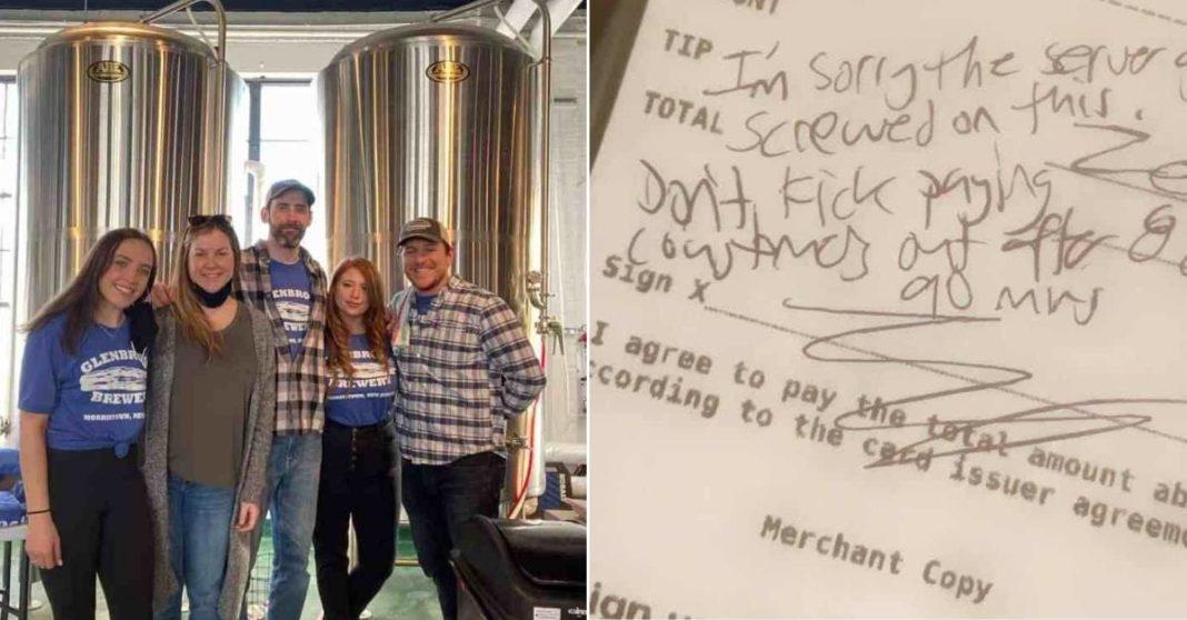 funcionários cervejaria EUA e conta com recado