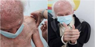 Idoso recebendo vacina do coronavírus