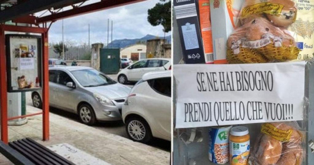 Ponto de ônibus em rua de Palermo