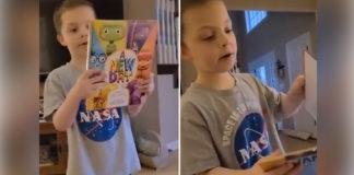 menino autista gago lê livro escritor favorito