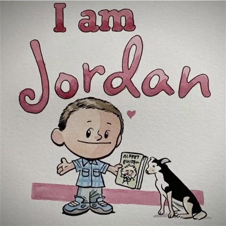 ilustração menino com seu cachorro