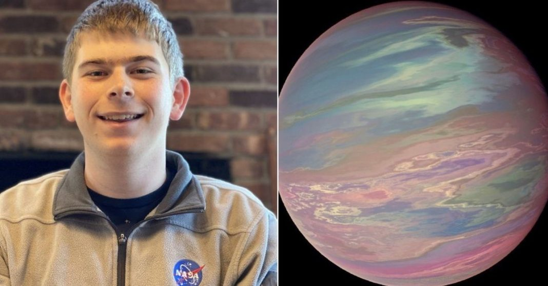 estagiário NASA sorrindo e planeta descoberto por ele