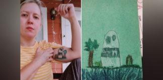 Mãe mostrando tatuagem feita a partir de desenho do filho