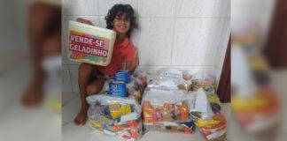 menino cestas básicas doação famílias carentes