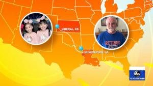 Mapa dos Estados Unidos estilizado com fotos gêmeas e homem que enviou presentes