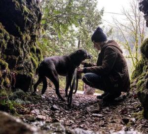 Cachorro e dona na floresta