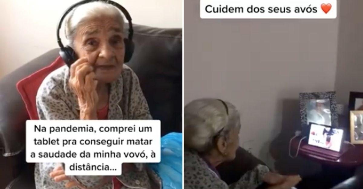 avó faz videochamada neta