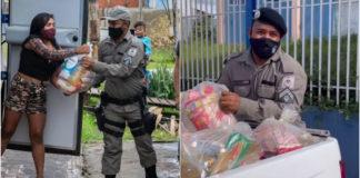 Policial entregando cestas básicas